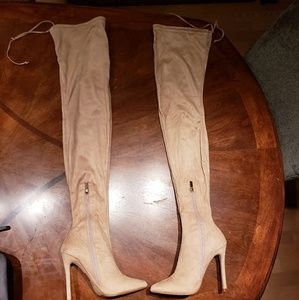 Forever 21 nude faux suede over the knee boots